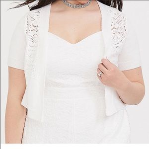 NWT Torrid white pointelle shrug 00X